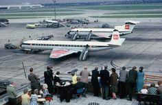 [British European Airways (BEA), de Havilland Comet [foreground] & [Hawker Siddeley Trident [background], London Heathrow, Two fabulous, British stars British European Airways, British Airline, De Havilland Comet, Aircraft Images, London Airports, Heathrow Airport, Commercial Aircraft, Civil Aviation, Concorde