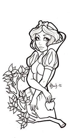 Snow White Lineart by *BlueUndine on deviantART