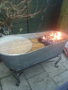 Diy bbq. Tin bath, rustic by Oliver Hubbard for the launch of The Canter Inn horse box and Whitney Hubbards move to somerset