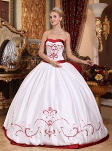 e560f8fedc5 Informal White Quinceanera Dress Strapless Satin Embroidery Ball Gown  Dresses 2013