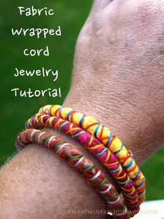 Fabric wrapped cord jewelry tutorial - these bright bracelets and necklaces Fabric Bracelets, Fabric Necklace, Cord Bracelets, Bangles, Textile Jewelry, Fabric Jewelry, Jewellery, Fabric Beads, Fabric Art