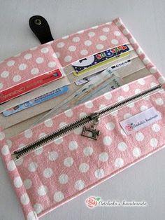 artchala handmade: Sweet Pink Dots Fabric Wallet