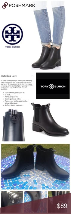 GREAT SHAPE!  Tory Burch Chelsea rain boots- black Super beautiful, incredibly functional 'Chelsea' rain boots by Tory Burch are made from sleek, gorgeous, 100% waterproof rubber for a practical shoe that looks amazing on!  This is NOT your typical rain boot!  They are ultra-chic & will easily dress up or down and thanks to their shorter style, they can easily be worn year-round!  Only flaws shown in pic 3.  Don't miss out on the boot that will keep you looking polished, no matter the…