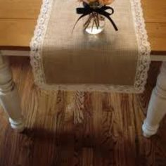 Burlap with lace trim. Simple and cheap.