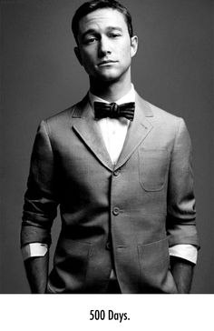 Joseph Gordon-Levitt, keeping it classy.   Menswear, mens fashion, sartorial man, button down shirt, dress shirt, bow tie, suit