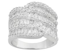 Bella Luce (R) 4.50ctw Baguette And Round Rhodium Plated Sterling Silver Ring