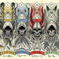 The 4 horsemen of the apocalypse. Fantasy Kunst, Dark Fantasy Art, Dark Art, Arte Horror, Horror Art, Apocalypse Art, Satanic Art, Arte Obscura, Creepy Art