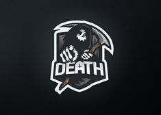 Death Mascot Logo *for Sale* on Behance Zaha Hadid, Logo Gamer, Video Game Logos, People Logo, Game Logo Design, Esports Logo, Behance, Sports Party, Creative Logo