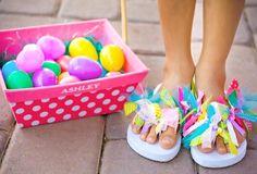 make flip flops fancy with ribbons