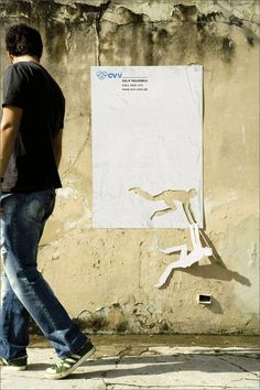 """Help yourself"". So simple, yet so effective. Poster by a Brazilian suicide prevention organization. More stunning examples of Guerrilla marketing at http://www.culturainquieta.com/en/diseno/item/1564-guerrilla-marketing.html"