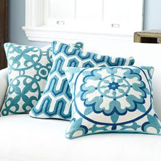 Wisteria - Accessories - Pillows & Cushions - Floral Crewelwork Pillow Cover - Blue - $49.00