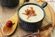 """Supa crema de telina: Cream of Celery Soup. If you try this recipe be aware this is not American """"celery"""" but a celery root. Cream Of Celery Soup, Hummus, Bacon, Good Food, Cooking Recipes, Pudding, Supe, Ethnic Recipes, Desserts"""