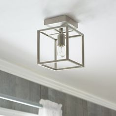 Shop allen + roth Arctura 7.01-in W Brushed Nickel Metal Semi-Flush Mount Light at Lowes.com
