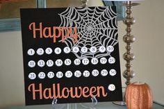 Countdown to Halloween {Hershey Kiss Board} - Infarrantly Creative Halloween Kiss, Halloween Countdown, Halloween Goodies, Holidays Halloween, Halloween Crafts, Holiday Crafts, Holiday Fun, Happy Halloween, Halloween Decorations