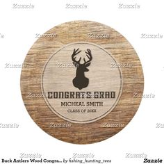 Buck Antlers Wood Congrats Grad Graduation Party Paper Plate Personalize this rustic custom designed Graduation Party paper plate This invitation features a brown buck head and antlers with a wood background