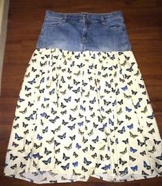 OLD-NAVY-UP-CYCLED-DENIM-PEASANT-SKIRT-BUTTERFLIES-AND-DENIM-SIZE-12