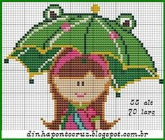 Girl with umbrella x-stitch