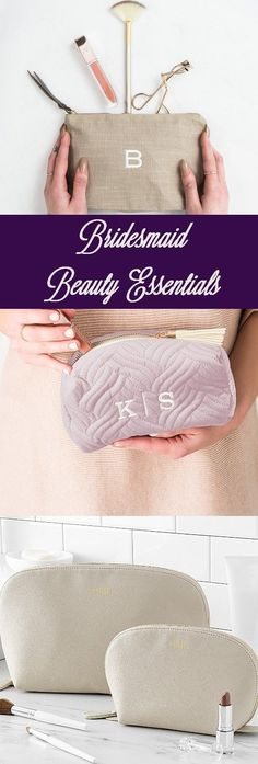 Just in time for wedding day primping, personalized cosmetic bags make practical bridesmaid gifts your maid of honor and bridesmaids can use for storing all of their cosmetic and makeup accessories. Makeup travel bags are available in a variety of styles and sizes to accommodate each woman's personality and taste. Gifts For Wedding Party, Party Gifts, Wedding Day, Travel Cosmetic Bags, Travel Bags, Bridesmaid Gifts, Bridesmaids, Travel Makeup, Beauty Essentials