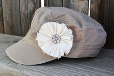 Womens Distressed Military Hat womens hat by FlourishingCreations