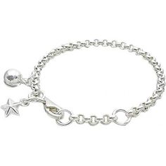 Baby Bracelets:  Sterling Silver Baby Bell Bracelet with Star.  Baby bracelets from Baby Jewels.