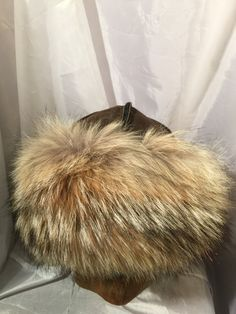Beautiful Mongolian, Russian, Norse coyote fur hat with brown leather, amber beads and lamp work beads. by Micheleshats on Etsy