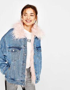 Denim jacket with removable lining  - Bershka #denim #jacket #lining #pink #bershka