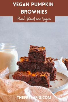 These Vegan Pumpkin Brownies are the perfect Fall treat! Full of chocolate and pumpkin flavors, this easy dessert is the perfect potluck or bake sale treat! Simple to make yet delicious, you will be craving these all Fall long! Vegan Dessert Recipes, Delicious Vegan Recipes, Brownie Recipes, Easy Desserts, Baking Recipes, Yummy Food, Pumpkin Brownies, Pumpkin Cheesecake, Vegan Pumpkin