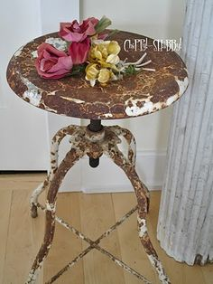 stool and roses...