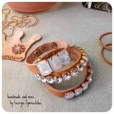 handmade leather bracele with crystal & swarovski elements