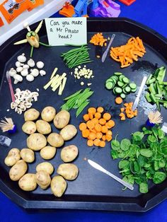 Making your own Mr. Potato Head from real food.  Just an image, but too good not to share.  This would make a great activity in a special education class if you are teaching about farms, healthy foods, fruits, vegetables, and more.  An absolutely great hands on activity!!