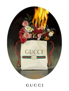 The Gucci drawstring backpack with vintage logo print imagined by Ignasi Monreal in an illustration for Gucci Gift.