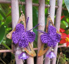 I just listed Crochet Earrings, Unique Antique Brass and Purple Butterfly on The CraftStar @TheCraftStar #crochetearrings