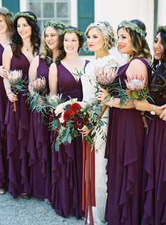 Pretty protea blooms for the bridesmaids: http://www.stylemepretty.com/little-black-book-blog/2016/04/27/find-out-how-these-classmates-went-from-hola-to-i-do/ | Photography: Graham Terhune - http://grahamterhune.com/