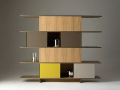 Contemporary Shelving Unit Design Inspiration with Wood Shelves in Six Levels Idea also Multicolor Painted Wood Drawers and Doors