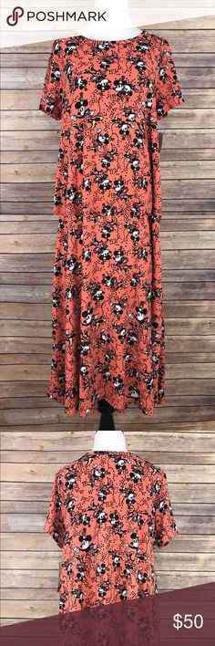 LuLaRoe Carly Disney Minnie Mouse Dress NWT New with tags Doesn't get any cuter than this!!!  LuLaRoe Carly high-low dress Disney Minnie Mouse with coral background  Non smoking home LuLaRoe Dresses High Low
