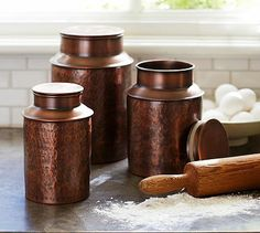 Copper Canisters #potterybarn I love these but they only have the small size on the website.