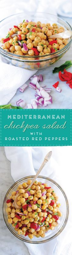 So simple to make! // Chickpea Salad with Roasted Red Peppers