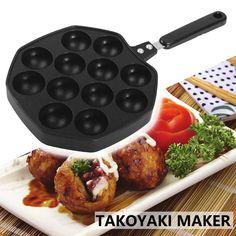 12 Holes Commercial Takoyaki Pan Home Takoyaki Maker Octopus Balls Nonstick Baking Pan Frying Pan Plate Cast Meatball Cooker Takoyaki Pan, Griddle Grill, Asian Recipes, Ethnic Recipes, Restaurant Recipes, Baking Pans, Japanese Food, Tandoori Chicken, Octopus