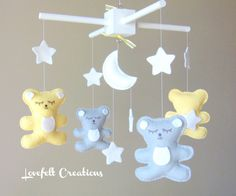 Baby Crib Mobile  Yellow and Gray Mobile   Baby by LoveFeltXoXo, $90.00