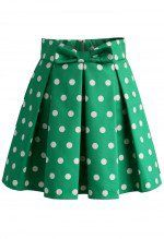 Sweet Your Heart Polka Dots Skirt in Green