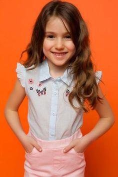 Gömlek - Kolu Fırfırlı Genç Kız Gömlek