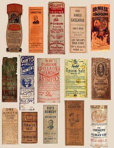 vintage medicine bottle labels (real) sheet 1 of 3