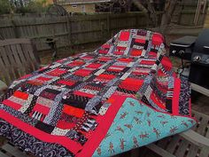 Stairway to Fortune, red, black and white quilt