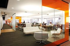 Open office plans continue to set the trend in collaborative office designs, breaking down the walls between employees. Open Space Office, Bureau Open Space, Industrial Office Space, Office Workspace, Law Office Design, Office Interior Design, Office Interiors, Office Designs, Commercial Interior Design