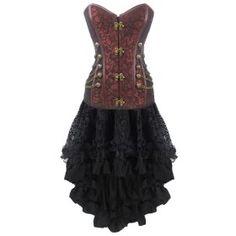366ebd5f6d Brown Steampunk Costume Satin Skirt Sets Jacquard Corset Dresses ...