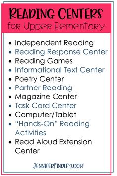Reading Centers for Upper Elementary Even and graders love (and benefit from) reading centers. Check out this post for lots of ideas for different reading centers to engage and challenge your readers, including free ones! Partner Reading, Reading Response, Reading Skills, Guided Reading, Teaching Reading, Reading Time, Reading Strategies, Reading Intervention Classroom, Adhd Strategies