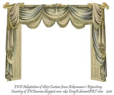 I love the concept of antique toy theaters and am currently on a vintage paper curtain kick. I also love images from the Regency era publication called . 1820 EKD Regency Curtain Room 3 - curtain only Paper Curtain, Curtain Room, Cream Curtains, Black Curtains, Toy Theatre, Theatre Stage, Shadow Theatre, Stage Curtains, Antique Toys