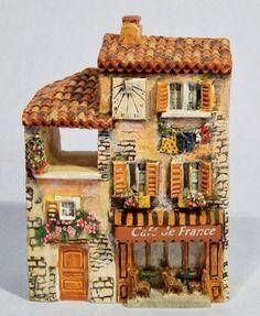 """J. CARLTON DOMINIQUE GAULT """"CAFE DE FRANCE"""" PROVENCE MINIATURE BUILDING #218275"""