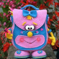 Crochet bikini how to how to make 34 ideas for 2019 Crochet Animal Patterns, Stuffed Animal Patterns, Crochet Patterns Amigurumi, Crochet Toys, Crochet Backpack, Backpack Pattern, Crochet Beach Bags, Cute Crochet, Handmade Kids Bags