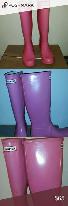 Hunter boots Pink bubble gum tall hunter boots purchased from a another posher but they didn't end up fitting me.  Super cute though. open to offers ☺☺ Hunter Boots Shoes Winter & Rain Boots